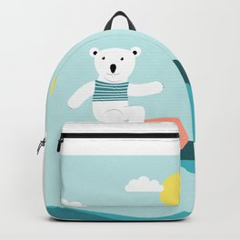 Polar bear surfing. Backpack
