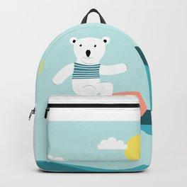 Polar bear surfing. Backpack