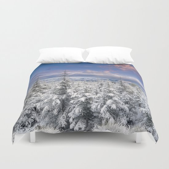 """Mountain light"". Snowy forest at sunset Duvet Cover"