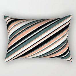 Dark Slate Gray, Light Salmon, Mint Cream & Black Colored Lines Pattern Rectangular Pillow