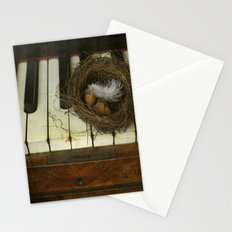 Birds nest and piano. Stationery Cards