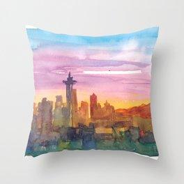 Seattle Washington Skyline in Golden Sunset Mood Throw Pillow