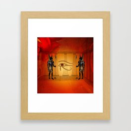 The all seeing eye with anubis Framed Art Print