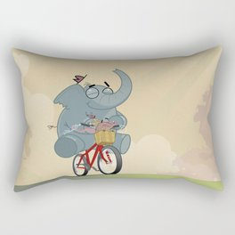 Mr. Elephant & Mr. Mouse 'Bicycle' Rectangular Pillow