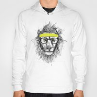 hipster Hoodies featuring hipster lion by Balazs Solti
