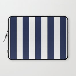 Space cadet blue - solid color - white vertical lines pattern Laptop Sleeve