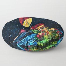 Cosmic mushrooms Floor Pillow