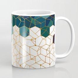 Teal and Cream Organic Hexagons Coffee Mug