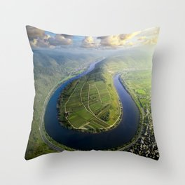 Incredible Mosel River Bend in Germany Throw Pillow