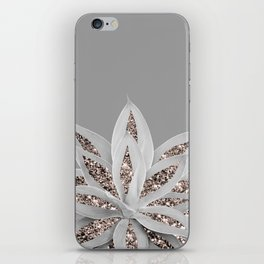 Gray Agave with Rose Gold Glitter #1 #shiny #tropical #decor #art #society6 iPhone Skin