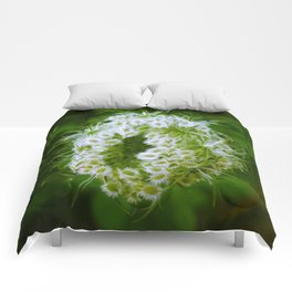 Green Closing Queen Anne's Lace Comforters