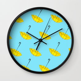 The Yellow Umbrella Wall Clock