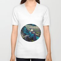 river V-neck T-shirts featuring River by Cs025