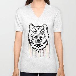 Watercolor Wolf Head Unisex V-Neck
