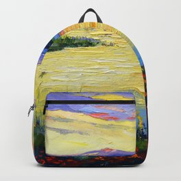 Flowers on the shore of the lake Backpack