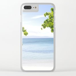 Alone on the beach Clear iPhone Case