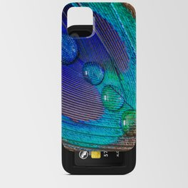 Peacock feather & water droplets iPhone Card Case