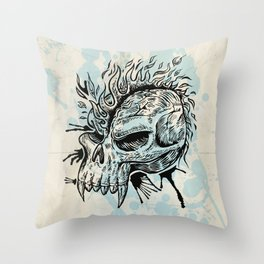 skull hand draw with flame Throw Pillow