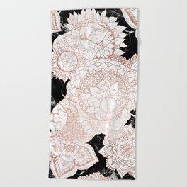 Modern rose gold floral mandala chic marble Beach Towel