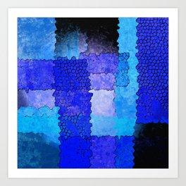 Blue Grunge Art Print