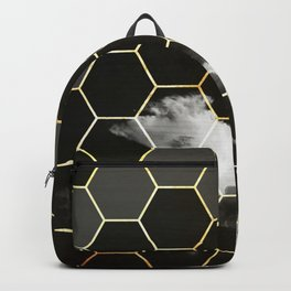 honeycomb clouds // black & white & golden Backpack