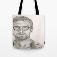 ryan gosling Tote Bags featuring Ryan by Kristy Holding