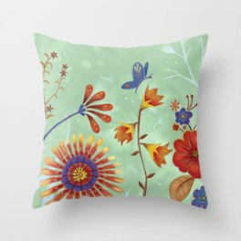 Autumn Floral Butterfly Throw Pillow