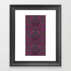 Aya damask fuchsia Framed Art Print
