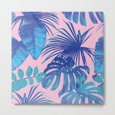 tropical leaf pattern pink  Metal Print