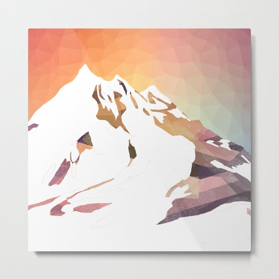 Golden Mountains Design Metal Print