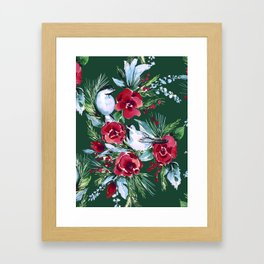 Winter Birds Dark Green Framed Art Print