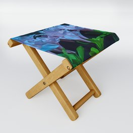 pink and blue flowers on black Folding Stool