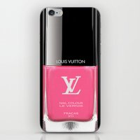 lv iPhone & iPod Skins featuring PINK NAIL POLISH LV by Graphic Craft