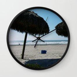Tiki Umbrellas Rosarito Beach Mexico Wall Clock