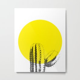 Sunset Minimal Cactus Metal Print