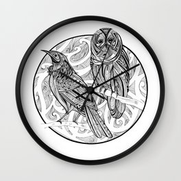 Tui and Morepork Wall Clock