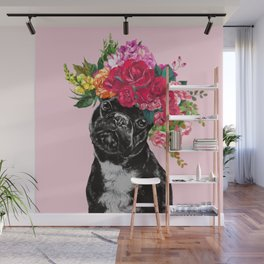 Rose Flower Crown French Bulldog in Pink Wall Mural