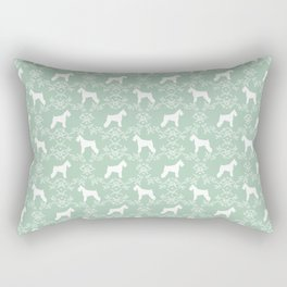 Schnauzer floral silhouette pattern schnauzers minimal mint dog art Rectangular Pillow