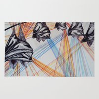 bats Area & Throw Rugs featuring Disco Bats  by SJay