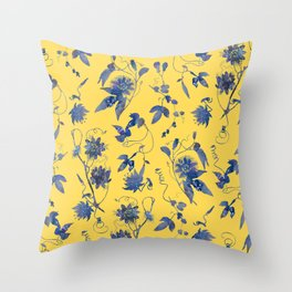 Elegant Blue Passion Flower on Mustard Yellow Throw Pillow