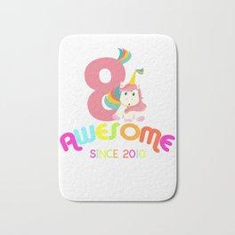 Awesome Since 2010 Unicorn 8th Birthday Anniversaries Bath Mat