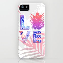 Love Pineapple Typography Tropical Boho Summer Vibes iPhone Case