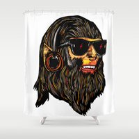teen titans Shower Curtains featuring Teen Wolf by Vasco Vicente