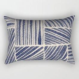 Navy Blue Striped Pattern #3 Rectangular Pillow