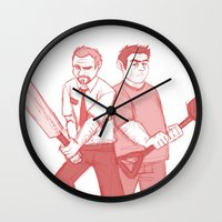 shaun of the dead Wall Clocks featuring shaun of the dead by Marie Mikolay