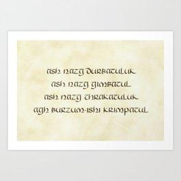 Ash Nazg Durbataluk... Art Print