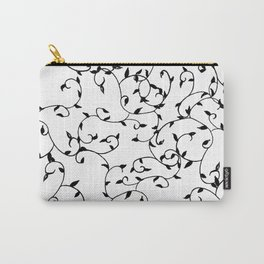 Modern Scattered Leaves (Black) Carry-All Pouch