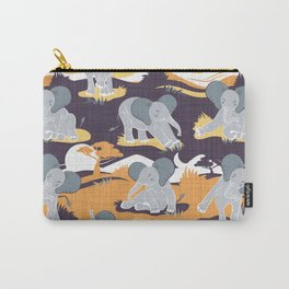 Baby African elephants joy night and day // yellow mustard Carry-All Pouch