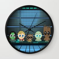 guardians of the galaxy Wall Clocks featuring GUARDIANS OF THE GALAXY by Chris Thompson, ThompsonArts.com