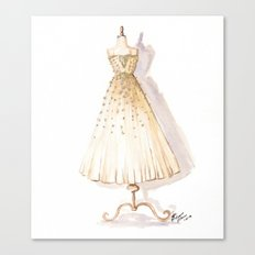 Glow and Cream Watercolor Gown Canvas Print